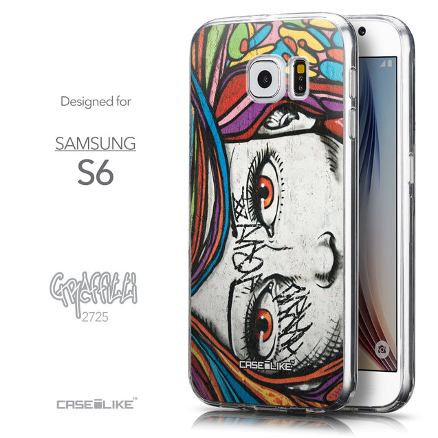 Front & Side View - CASEiLIKE Samsung Galaxy S6 back cover Graffiti Girl 2725