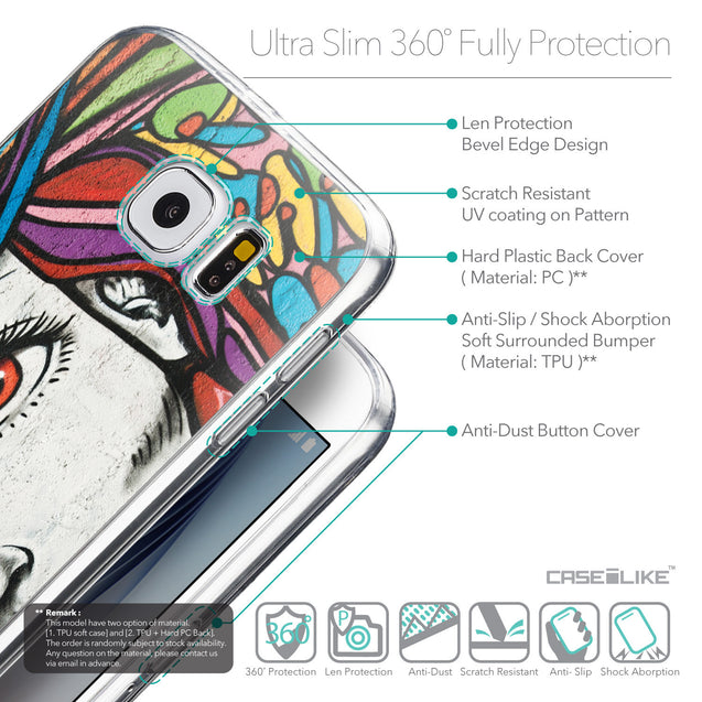Details in English - CASEiLIKE Samsung Galaxy S6 back cover Graffiti Girl 2725