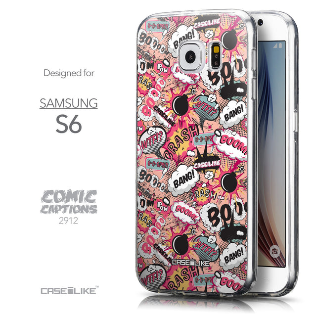Front & Side View - CASEiLIKE Samsung Galaxy S6 back cover Comic Captions Pink 2912