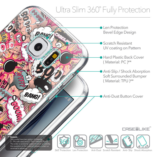 Details in English - CASEiLIKE Samsung Galaxy S6 back cover Comic Captions Pink 2912