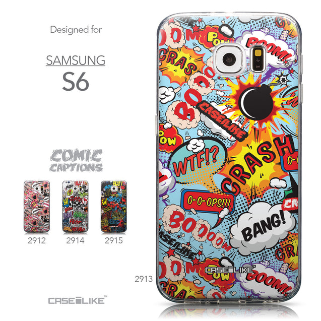 Collection - CASEiLIKE Samsung Galaxy S6 back cover Comic Captions Blue 2913