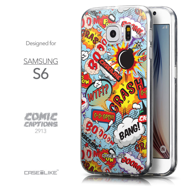 Front & Side View - CASEiLIKE Samsung Galaxy S6 back cover Comic Captions Blue 2913
