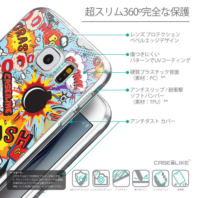 Details in Japanese - CASEiLIKE Samsung Galaxy S6 back cover Comic Captions Blue 2913