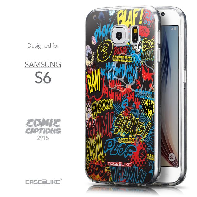 Front & Side View - CASEiLIKE Samsung Galaxy S6 back cover Comic Captions Black 2915