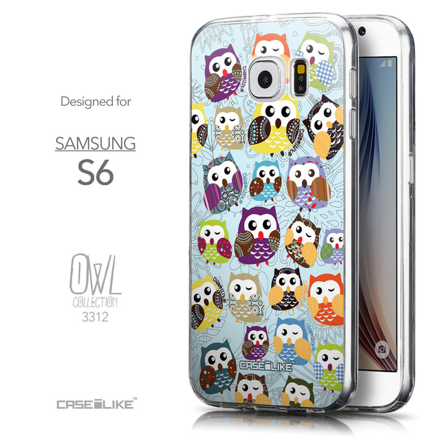 Front & Side View - CASEiLIKE Samsung Galaxy S6 back cover Owl Graphic Design 3312