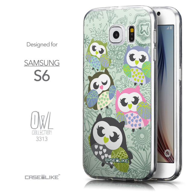 Front & Side View - CASEiLIKE Samsung Galaxy S6 back cover Owl Graphic Design 3313