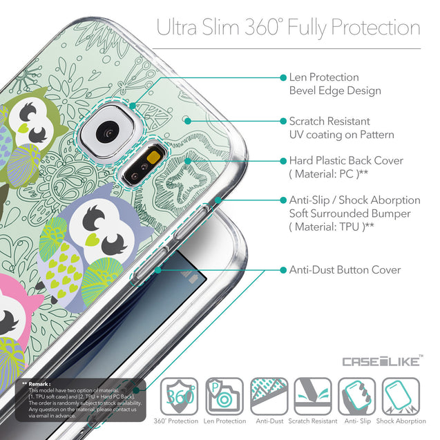 Details in English - CASEiLIKE Samsung Galaxy S6 back cover Owl Graphic Design 3313