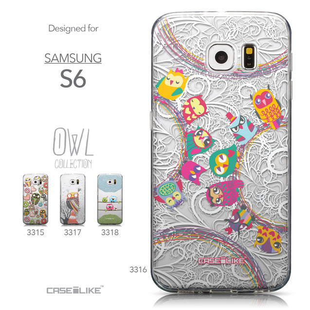 Collection - CASEiLIKE Samsung Galaxy S6 back cover Owl Graphic Design 3316
