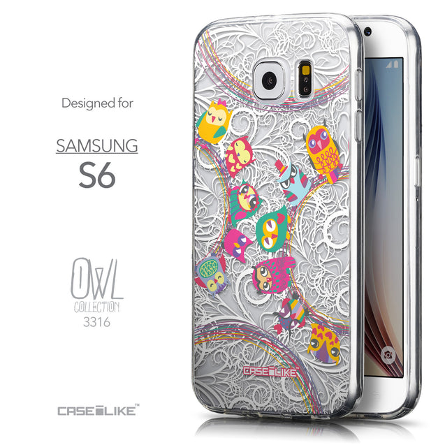Front & Side View - CASEiLIKE Samsung Galaxy S6 back cover Owl Graphic Design 3316