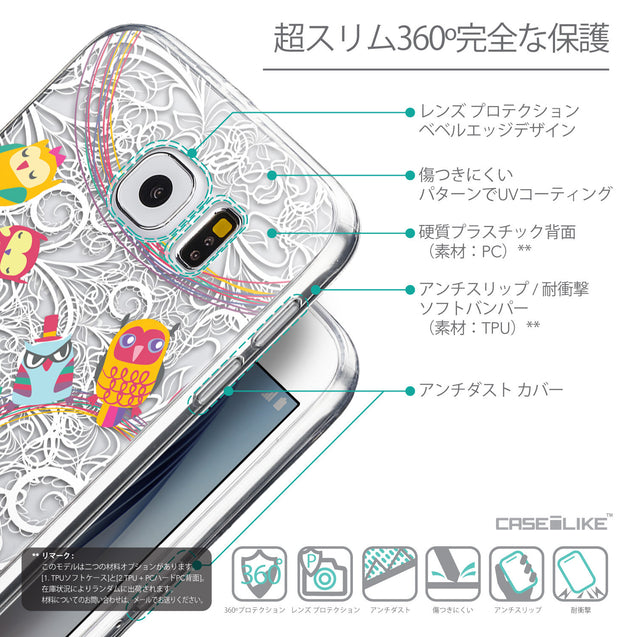 Details in Japanese - CASEiLIKE Samsung Galaxy S6 back cover Owl Graphic Design 3316