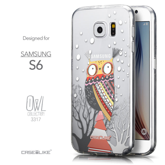 Front & Side View - CASEiLIKE Samsung Galaxy S6 back cover Owl Graphic Design 3317