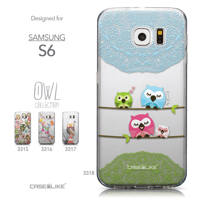 Collection - CASEiLIKE Samsung Galaxy S6 back cover Owl Graphic Design 3318