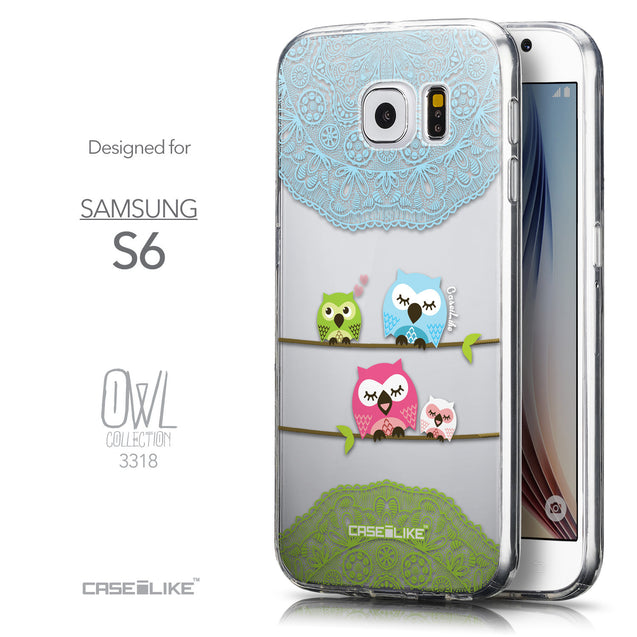 Front & Side View - CASEiLIKE Samsung Galaxy S6 back cover Owl Graphic Design 3318