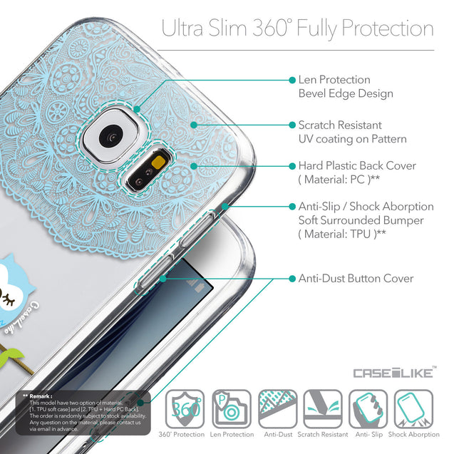 Details in English - CASEiLIKE Samsung Galaxy S6 back cover Owl Graphic Design 3318