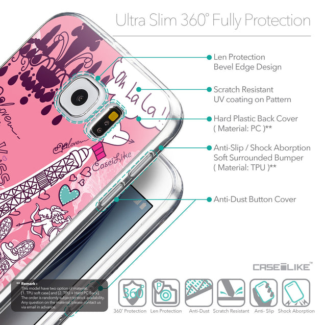 Details in English - CASEiLIKE Samsung Galaxy S6 back cover Paris Holiday 3905