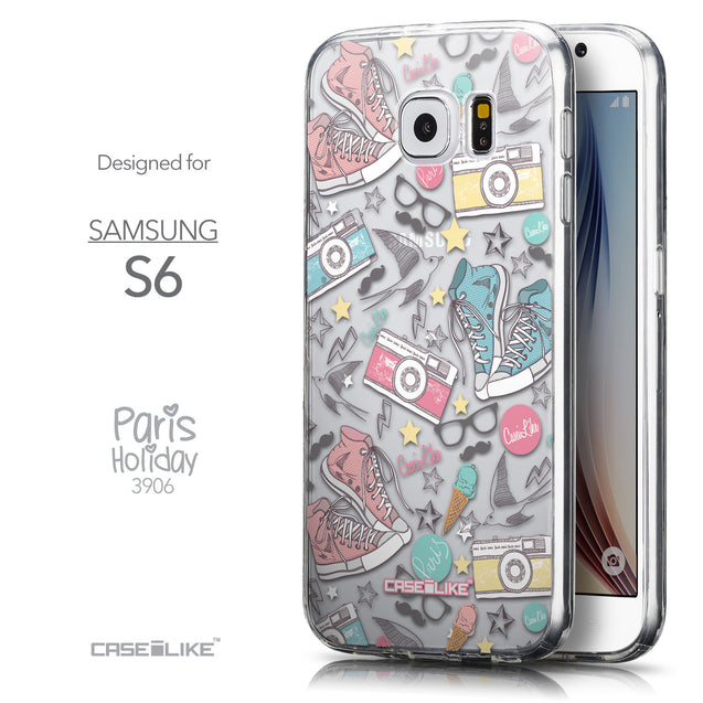 Front & Side View - CASEiLIKE Samsung Galaxy S6 back cover Paris Holiday 3906