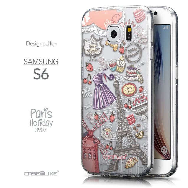 Front & Side View - CASEiLIKE Samsung Galaxy S6 back cover Paris Holiday 3907