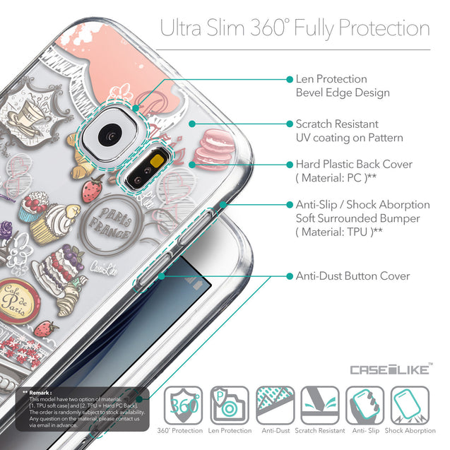 Details in English - CASEiLIKE Samsung Galaxy S6 back cover Paris Holiday 3907