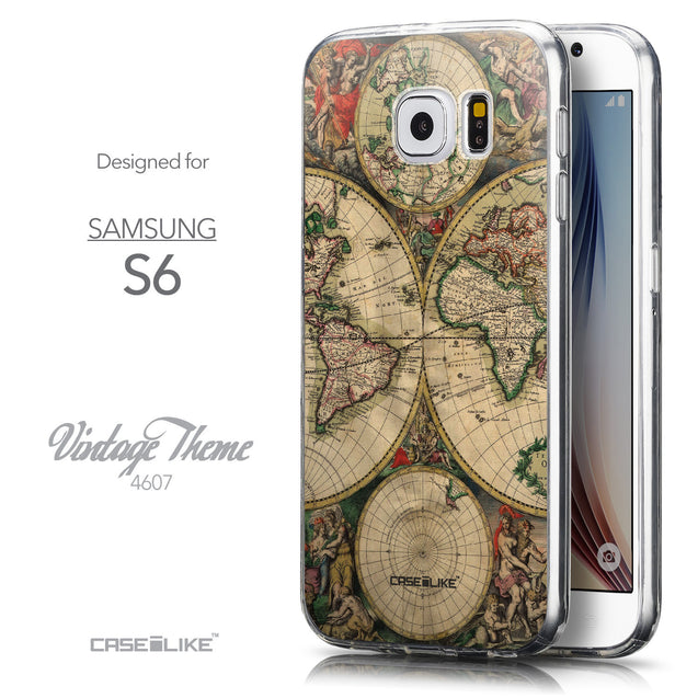 Front & Side View - CASEiLIKE Samsung Galaxy S6 back cover World Map Vintage 4607