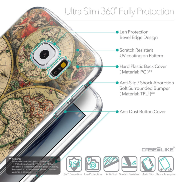 Details in English - CASEiLIKE Samsung Galaxy S6 back cover World Map Vintage 4607