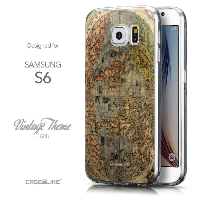 Front & Side View - CASEiLIKE Samsung Galaxy S6 back cover World Map Vintage 4608