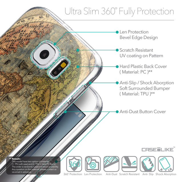 Details in English - CASEiLIKE Samsung Galaxy S6 back cover World Map Vintage 4608
