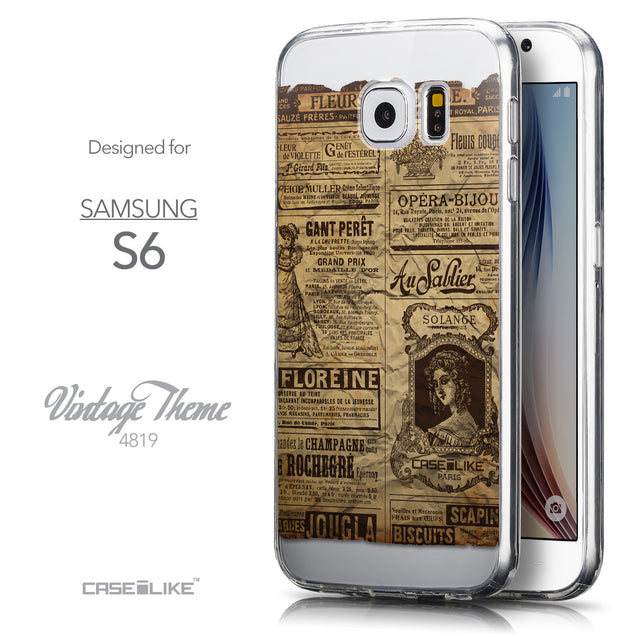 Front & Side View - CASEiLIKE Samsung Galaxy S6 back cover Vintage Newspaper Advertising 4819