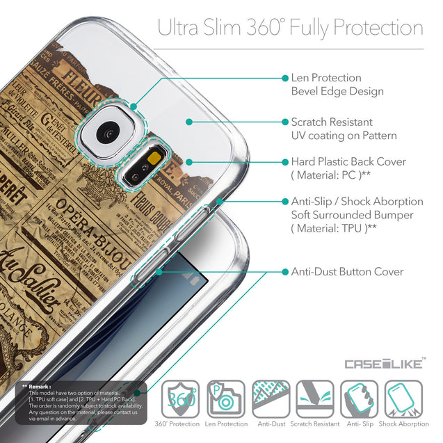 Details in English - CASEiLIKE Samsung Galaxy S6 back cover Vintage Newspaper Advertising 4819