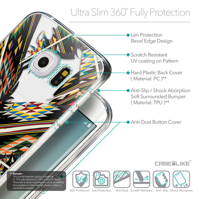 Details in English - CASEiLIKE Samsung Galaxy S6 Edge back cover Indian Tribal Theme Pattern 2053