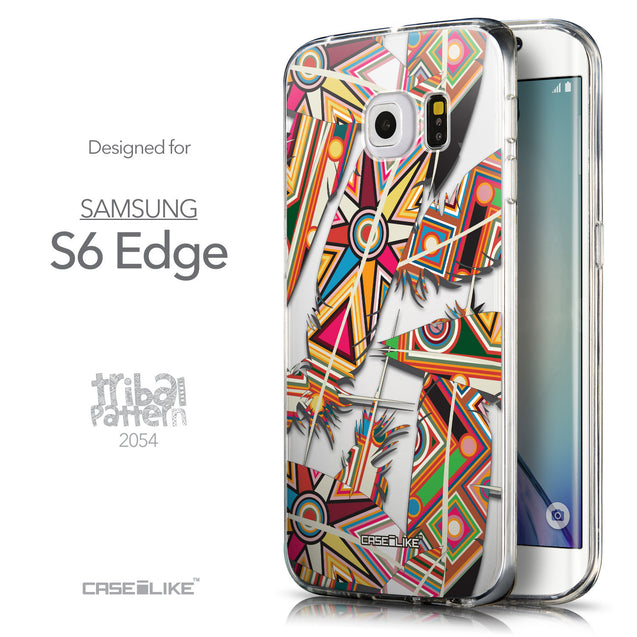 Front & Side View - CASEiLIKE Samsung Galaxy S6 Edge back cover Indian Tribal Theme Pattern 2054