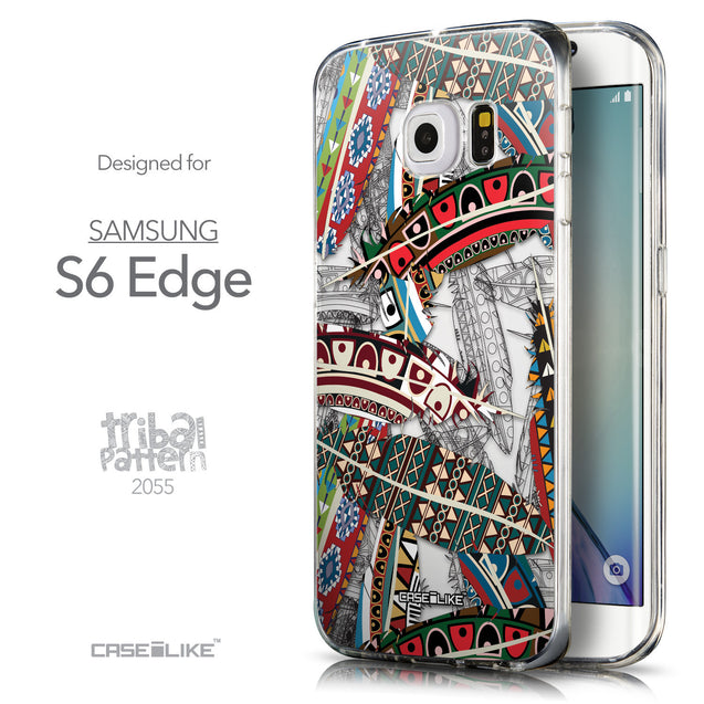 Front & Side View - CASEiLIKE Samsung Galaxy S6 Edge back cover Indian Tribal Theme Pattern 2055