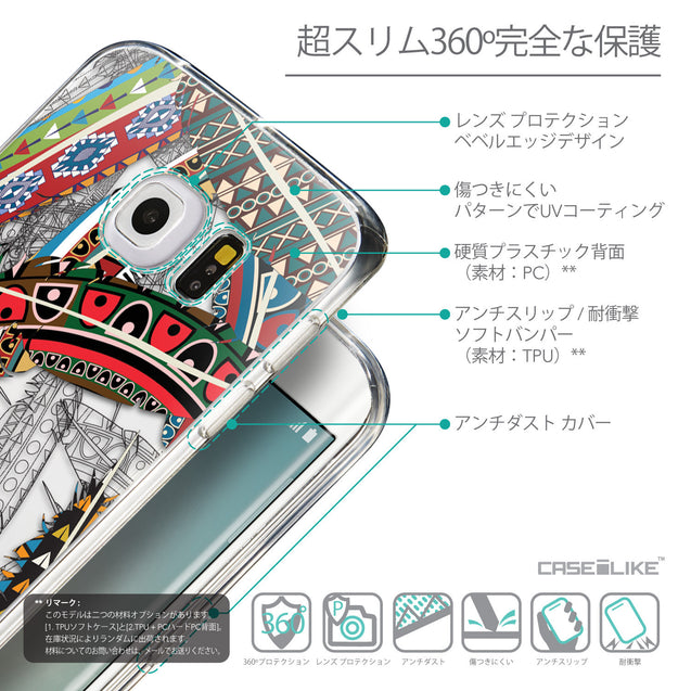 Details in Japanese - CASEiLIKE Samsung Galaxy S6 Edge back cover Indian Tribal Theme Pattern 2055
