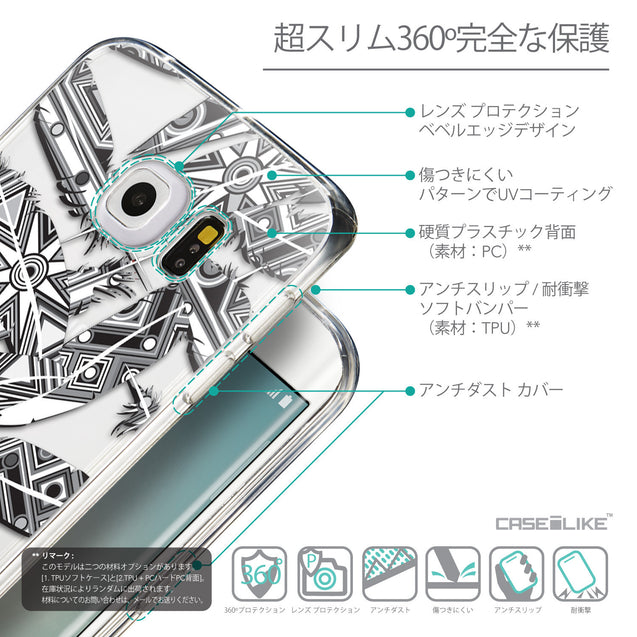 Details in Japanese - CASEiLIKE Samsung Galaxy S6 Edge back cover Indian Tribal Theme Pattern 2056