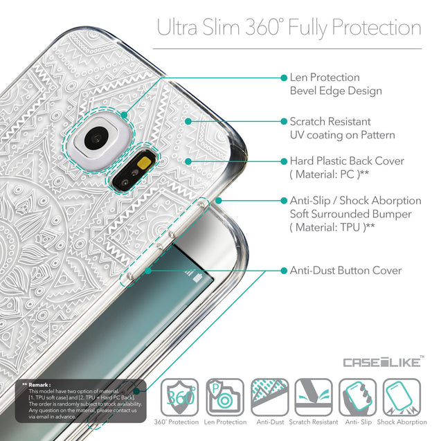 Details in English - CASEiLIKE Samsung Galaxy S6 Edge back cover Indian Line Art 2061