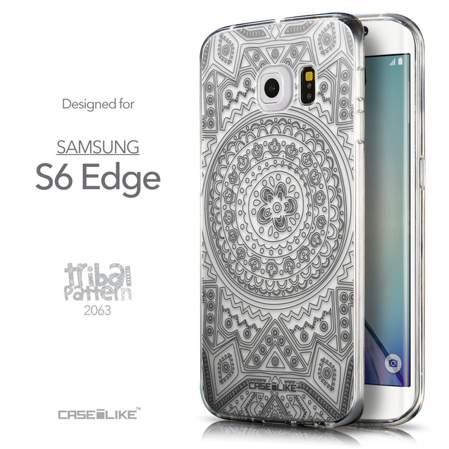 Front & Side View - CASEiLIKE Samsung Galaxy S6 Edge back cover Indian Line Art 2063