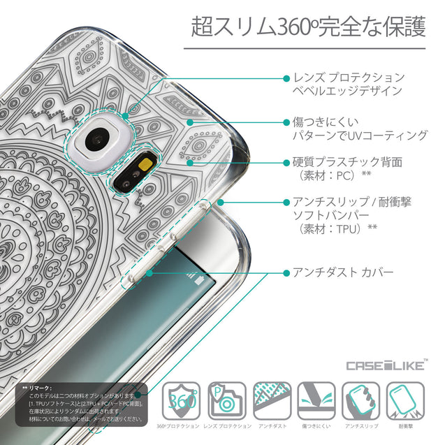 Details in Japanese - CASEiLIKE Samsung Galaxy S6 Edge back cover Indian Line Art 2063