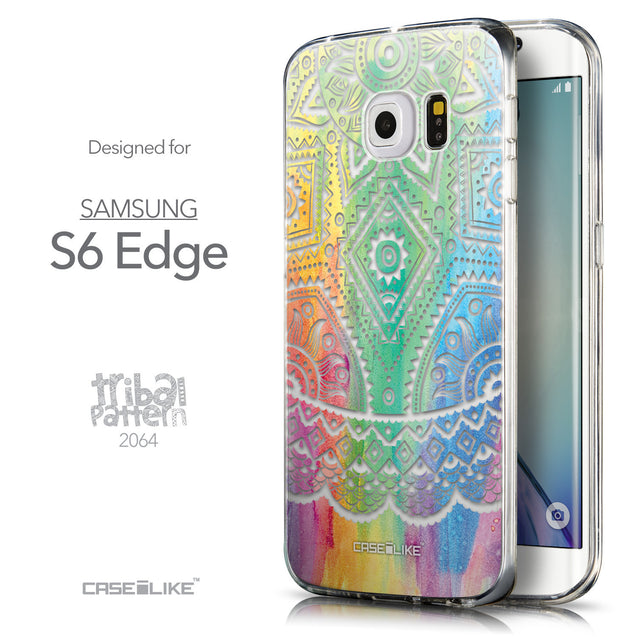 Front & Side View - CASEiLIKE Samsung Galaxy S6 Edge back cover Indian Line Art 2064