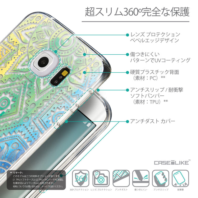 Details in Japanese - CASEiLIKE Samsung Galaxy S6 Edge back cover Indian Line Art 2064