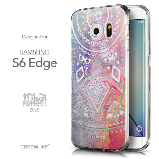Front & Side View - CASEiLIKE Samsung Galaxy S6 Edge back cover Indian Line Art 2065