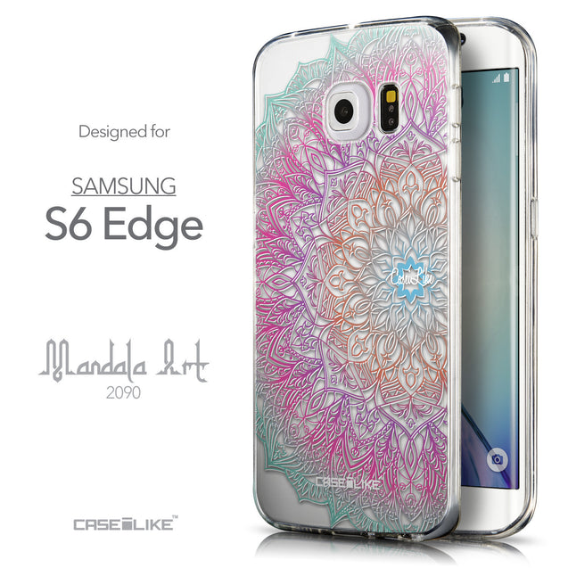 Front & Side View - CASEiLIKE Samsung Galaxy S6 Edge back cover Mandala Art 2090