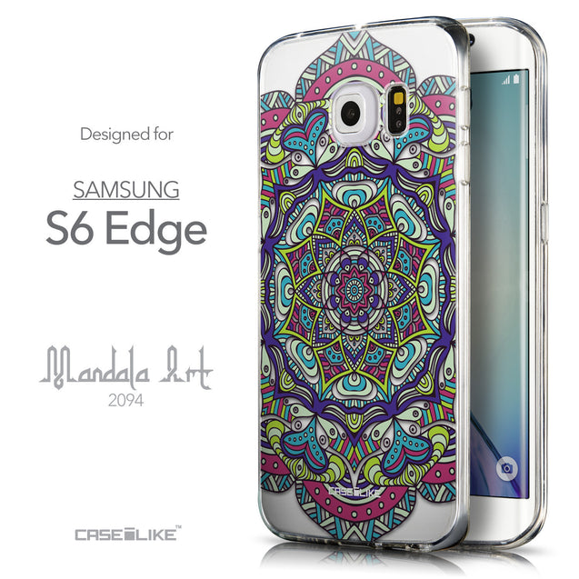 Front & Side View - CASEiLIKE Samsung Galaxy S6 Edge back cover Mandala Art 2094