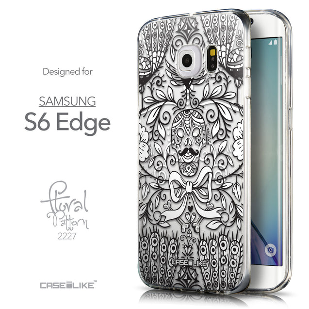 Front & Side View - CASEiLIKE Samsung Galaxy S6 Edge back cover Roses Ornamental Skulls Peacocks 2227