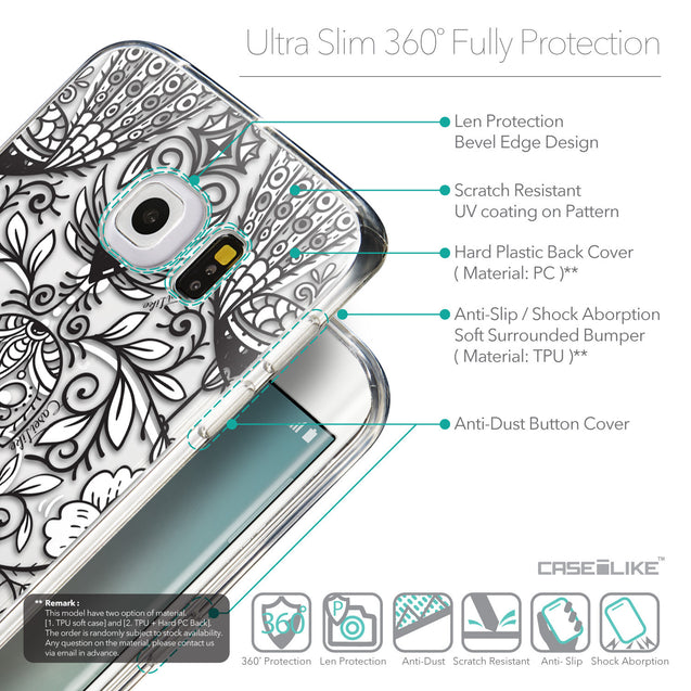 Details in English - CASEiLIKE Samsung Galaxy S6 Edge back cover Roses Ornamental Skulls Peacocks 2227