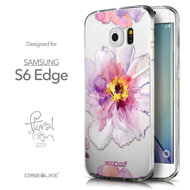 Front & Side View - CASEiLIKE Samsung Galaxy S6 Edge back cover Watercolor Floral 2231