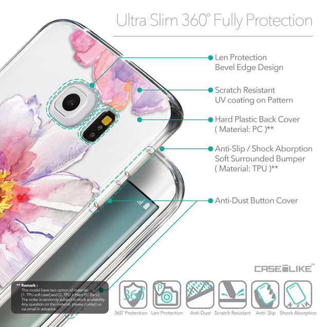 Details in English - CASEiLIKE Samsung Galaxy S6 Edge back cover Watercolor Floral 2231