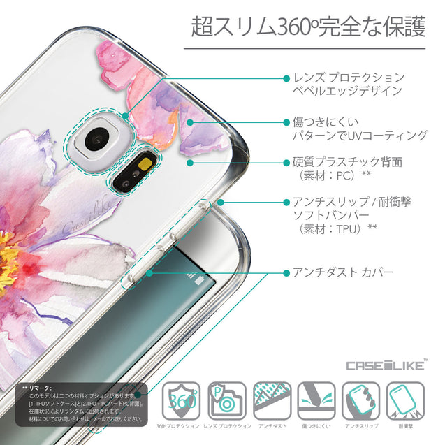 Details in Japanese - CASEiLIKE Samsung Galaxy S6 Edge back cover Watercolor Floral 2231