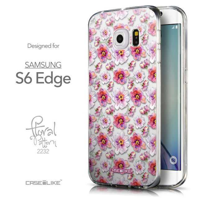 Front & Side View - CASEiLIKE Samsung Galaxy S6 Edge back cover Watercolor Floral 2232