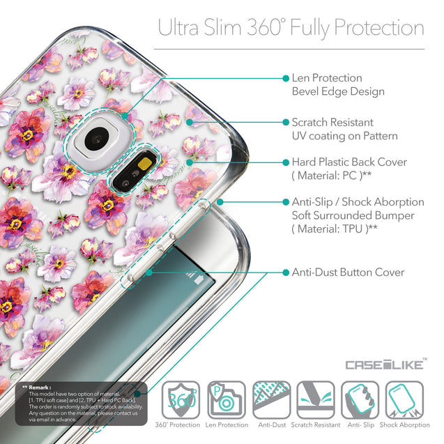 Details in English - CASEiLIKE Samsung Galaxy S6 Edge back cover Watercolor Floral 2232