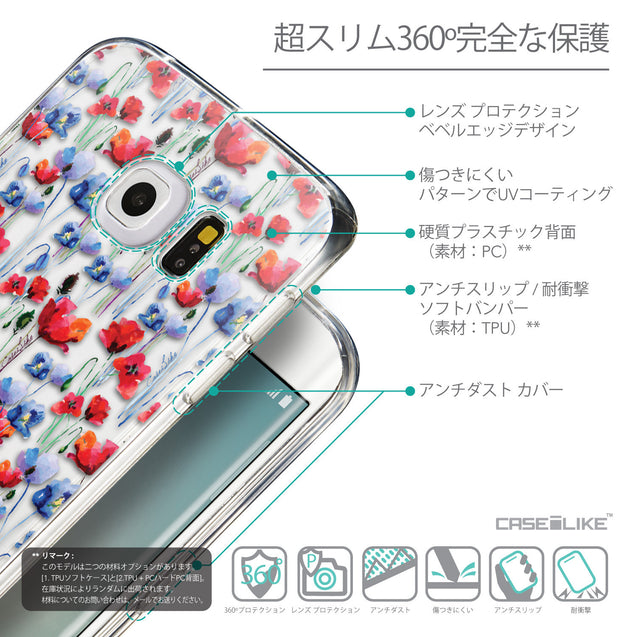 Details in Japanese - CASEiLIKE Samsung Galaxy S6 Edge back cover Watercolor Floral 2233