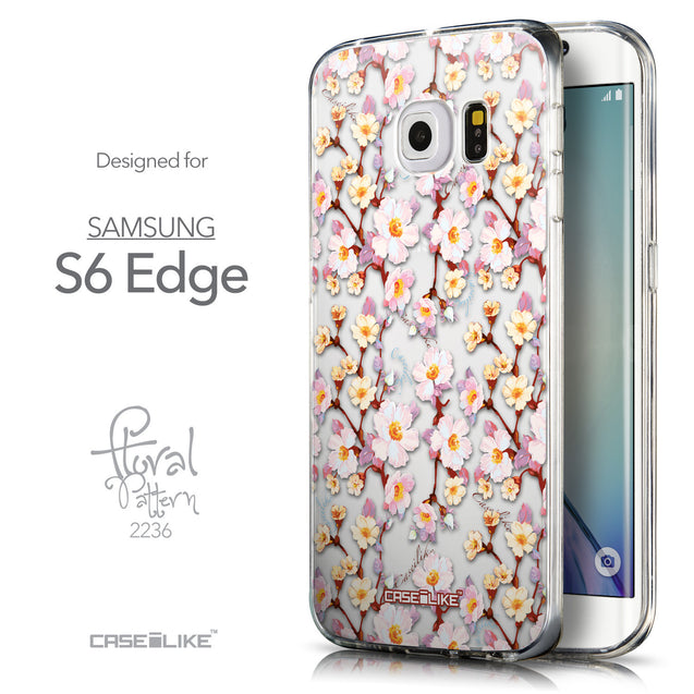 Front & Side View - CASEiLIKE Samsung Galaxy S6 Edge back cover Watercolor Floral 2236